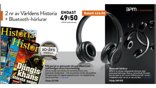 2 nummer av tidningen Världens Historia och Bluetooth-hörlurar