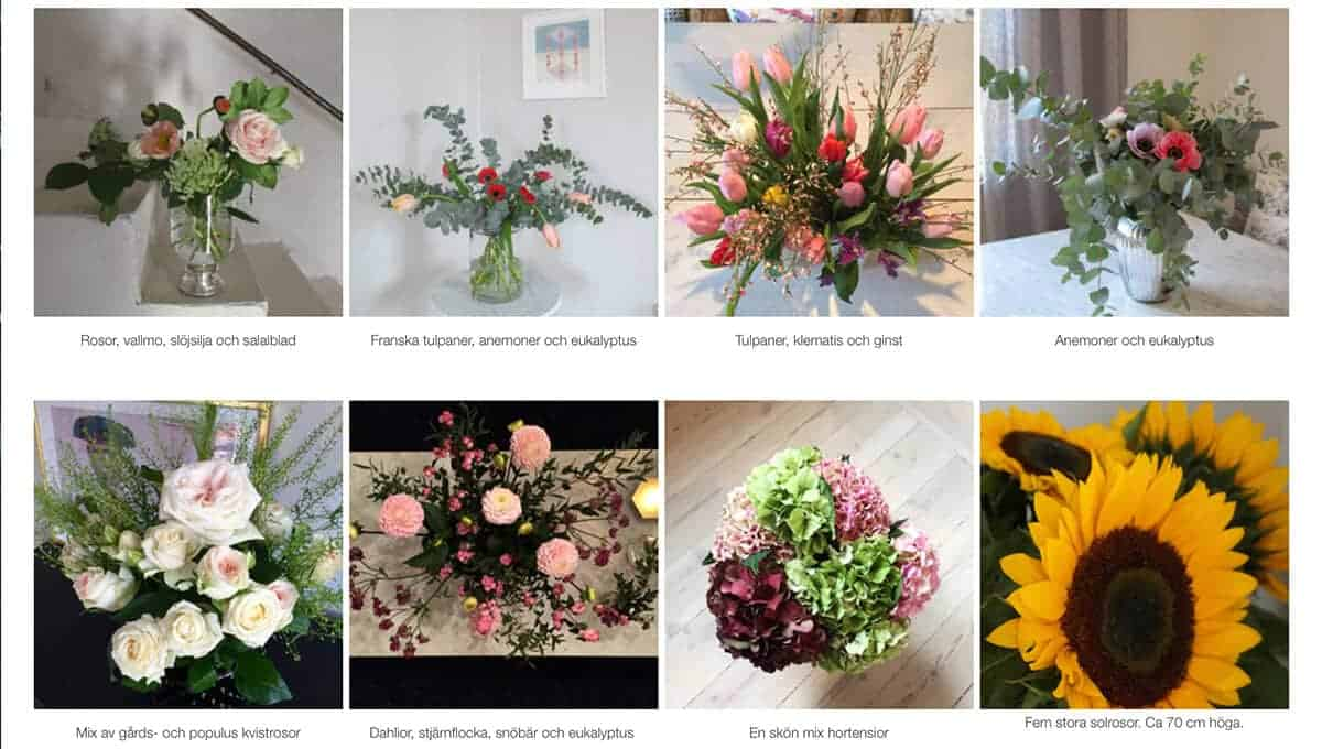 Flowery prenumerera blommor exempel