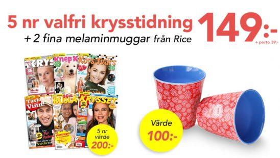 Prenumeration Valfri krysstidning + 2 muggar från Rice Premie
