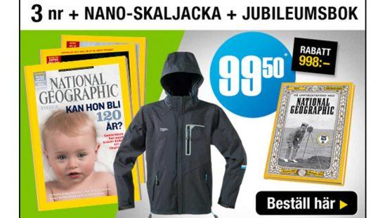 Tidning National Geographic + Nano-skaljacka och jubileumsbok Premie