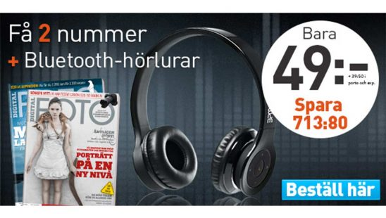 Prenumeration Tidning Digital FOTO + Bluetooth-hörlurar Premie
