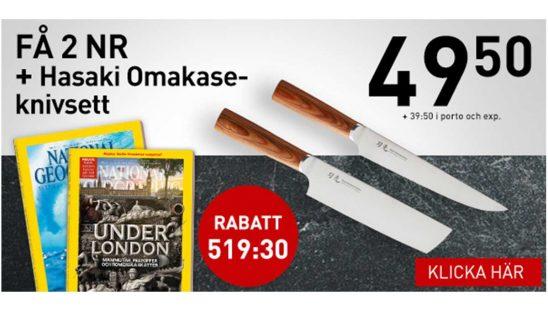 Prenumeration Tidning National Geographic + Hasaki Omakase-knivset Premie