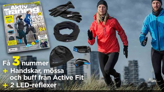 ktiv Träning + Vinterträningspaket med handskar, mössa och LED-reflexer som premie.
