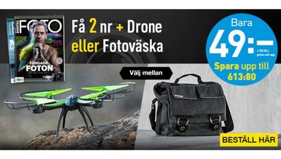 Prenumeration Tidning Digital FOTO + Fotoväska eller Drone Premie
