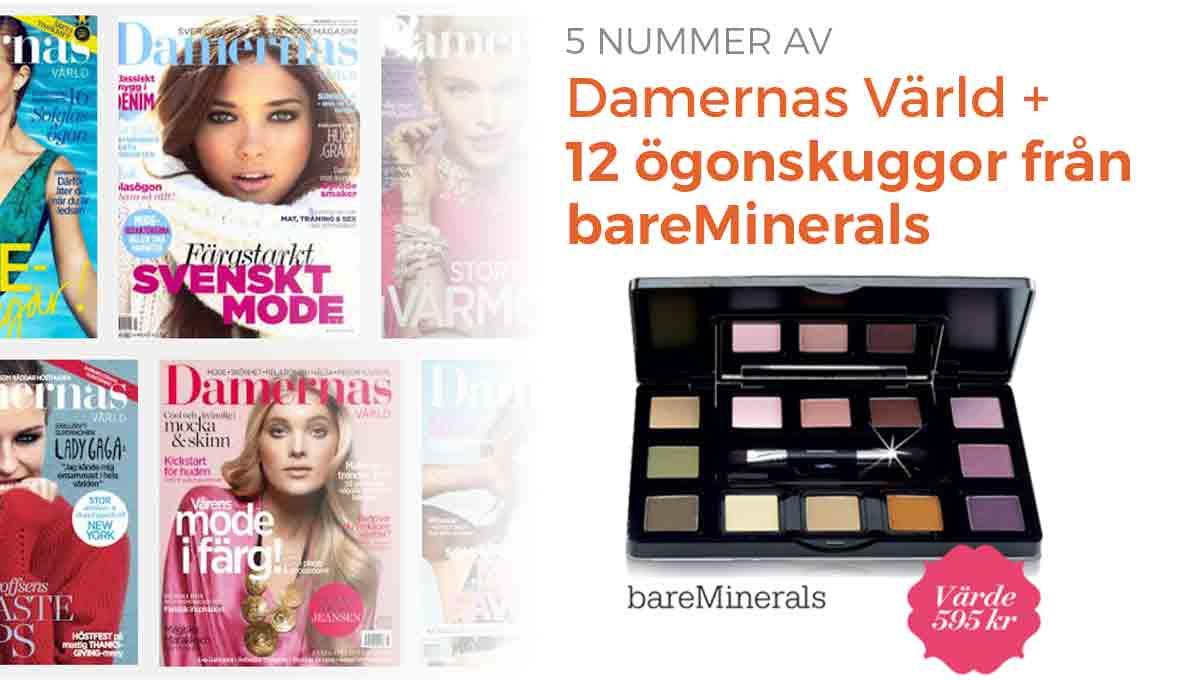 Damernas Värld + lyxig palett med 12 ögonskuggor från bareMinerals som premie