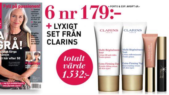 Tidning M-Magasin - Lyxigt set från Clarins som Premie