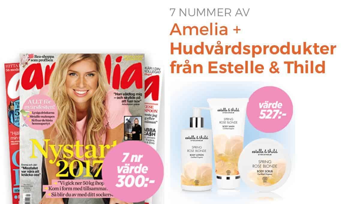 Amelia + Hudvårdsprodukter från Estelle & Thild som premie