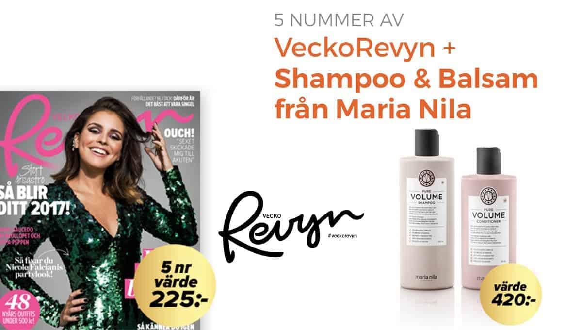 VeckoRevyn + Shampoo & Balsam från Maria Nila som premie