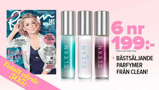6 nr av VeckoRevyn + bästsäljande parfymer från CLEAN premie