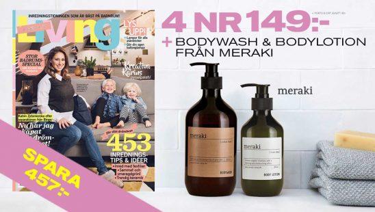 Prenumeration Tidning Family Living (4 nr + bodywash och lotion från Meraki Premie