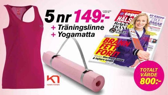 Tidning ToppHälsa (5 nr + Träningslinne från Kari Traa + Yogamatta) premie