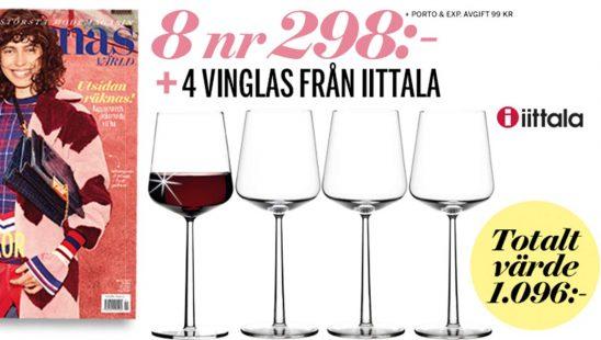 Prenumeration Damernas Värld + 4 vinglas från Iittala Premie