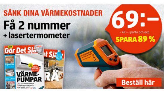 Prenumeration Gör Det Själv + lasertermometer Tidning Premie