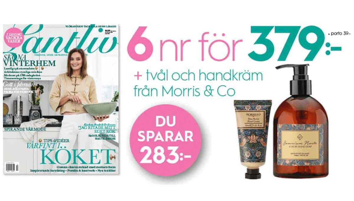 Prenumeration Lantliv + tvål + handkräm från Morris & Co Premie