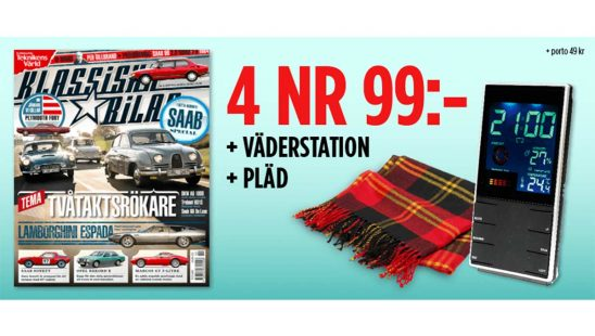 Tidning Klassiska Bilar + väderstation + pläd Premie