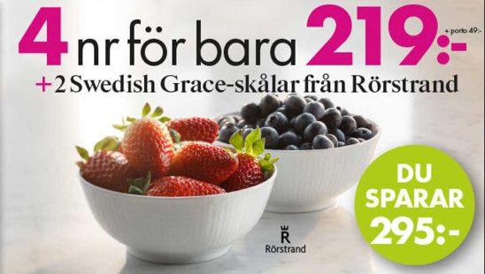 Prenumeration Lantliv mat & vin(4 nr + 2 Swedish Grace-skålar som premie