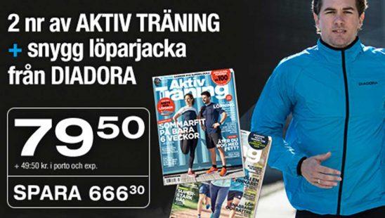 Prenumeration Tidning Aktiv Träning + Diadora löparjacka och Presentkort som Premie