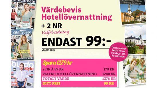 Prenumeration Tidning Allt om Handarbete Hotellövernattning Premie