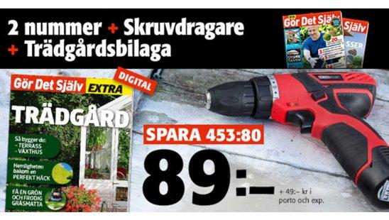 Prenumeration Tidning Gör Det Själv Skruvdragare från NOVAPLUS digital trädgårdsbilaga Premie