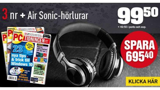 Prenumeration Tidning PC-tidningen Bluetooth hörlurar Air Sonic Premie