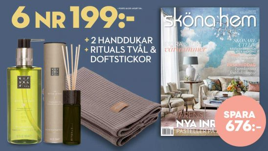Sköna hem + Rituals tvål & doftstickor + 2 handdukar som premie