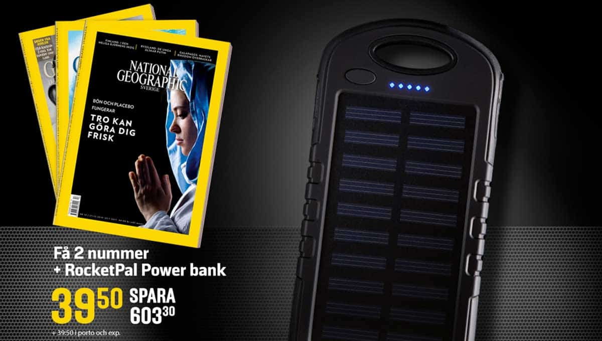 Tidning National Geographic + RocketPal Power bank laddare som Premie