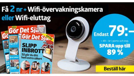 Prenumeration Gör Det Själv + Neo Wifi eluttag eller IP-övervakningskamera som Premie