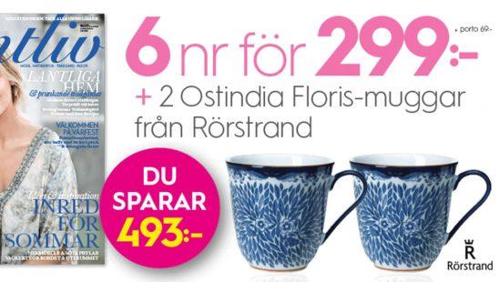Lantliv (6 nr + 2 Ostindia Floris-muggar från Rörstrand som premie