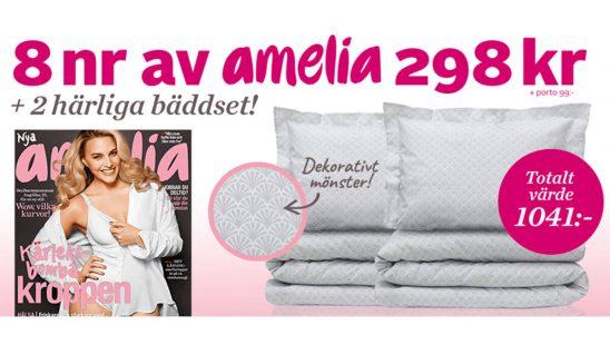 Prenumeration Tidning Amelia 8 nr + två bäddset Palm Dreams som Premie