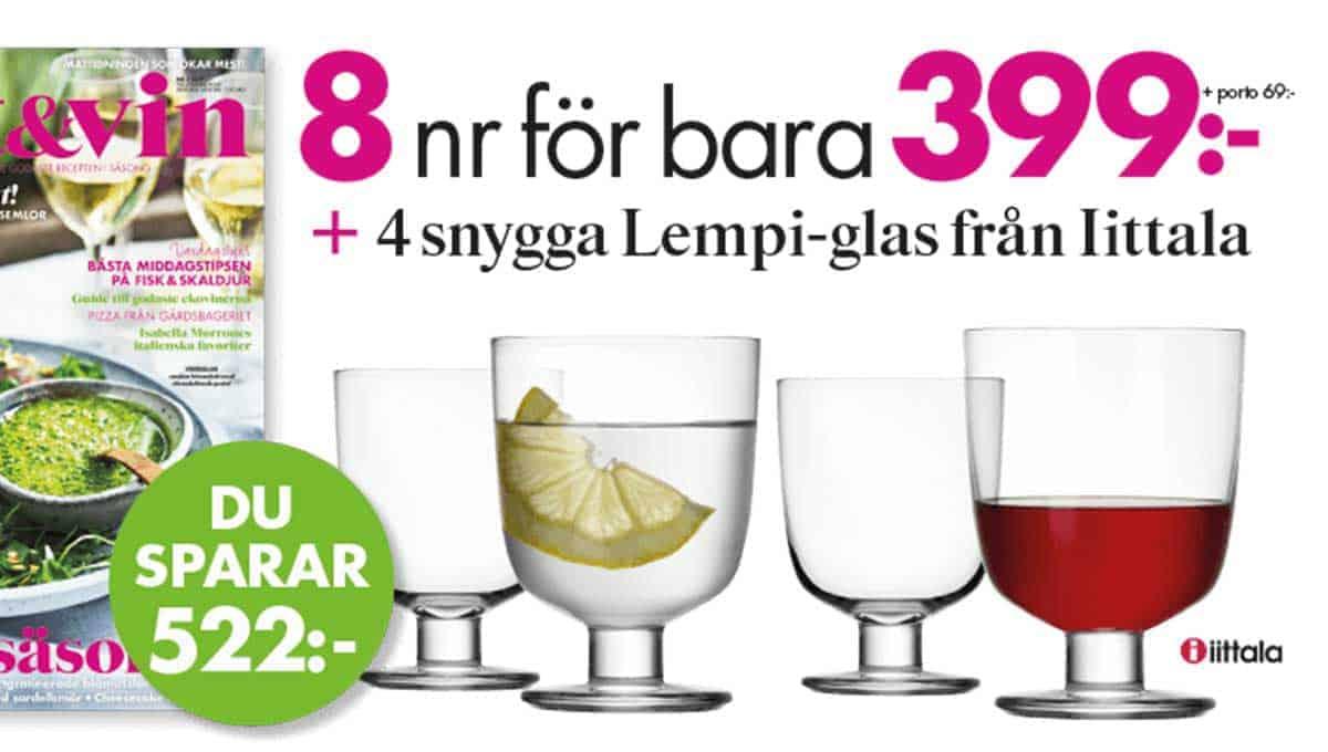 Lantliv Mat & Vin + 4 Lempi-glas från Iittala premie