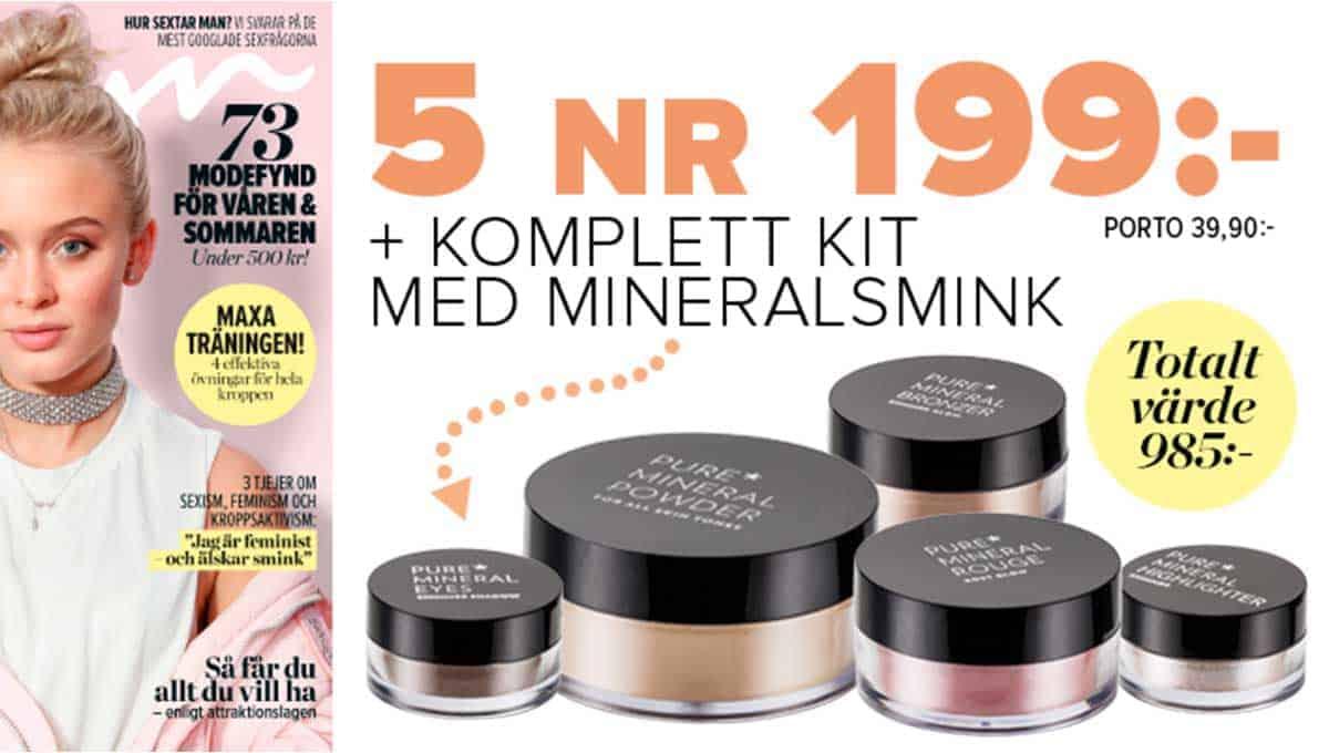 Prenumeration Tidning VeckoRevyn mineralsmink som Premie
