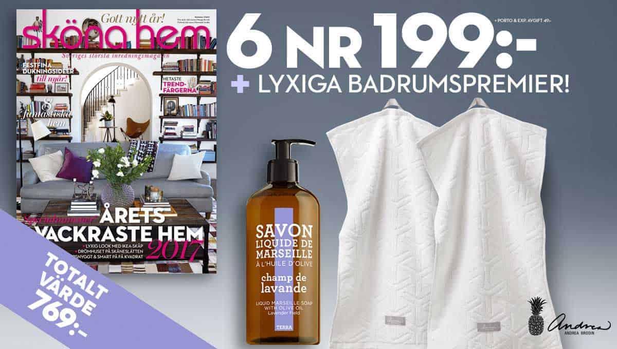 Sköna hem + 2 handdukar + Tvål Savon de Marseille Terra som Premie