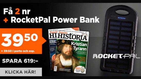 Prenumeration Populär Historia + RocketPal Power bank Tidning Premie