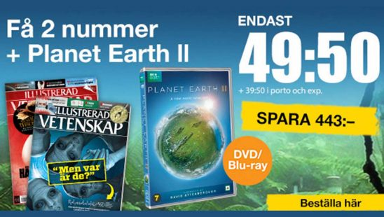 Prenumeration Tidning Illustrerad Vetenskap + PLANET EARTH II - DVD/Blu-ray Premie