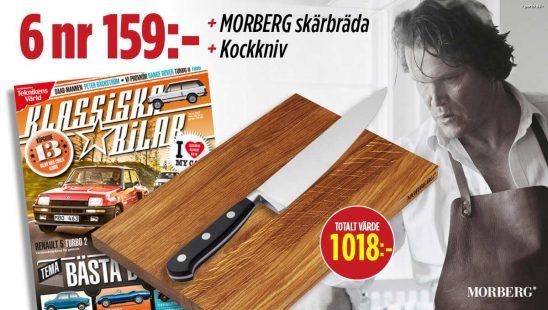 Tidningen Klassiska Bilar + Skärbräda från Morberg + Kockkniv som Premie