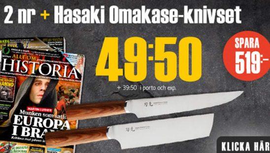 Prenumeration Allt om Historia + Hasaki Omakase-knivset Premie