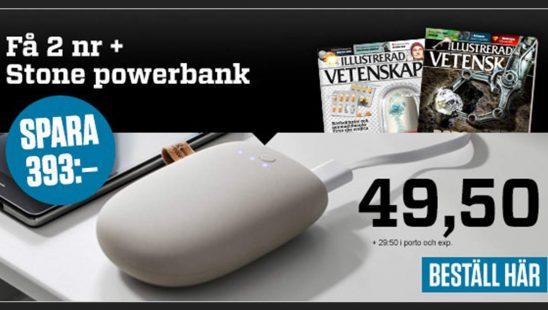 Prenumeration Illustrerad Vetenskap + Stone powerbank laddare premie