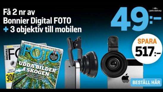 Prenumeration Tidning Digital FOTO + 3 objektiv till mobilen Premie