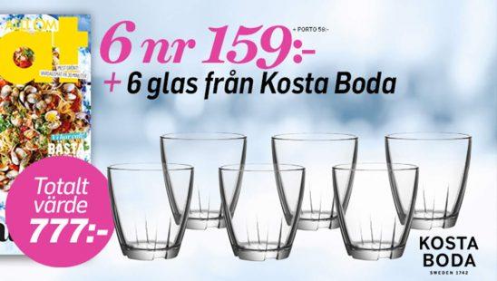 Prenumeration Allt om Mat 6 glas från Kosta Boda Premie