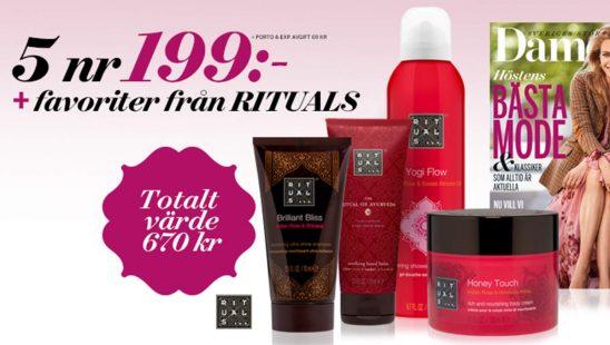 Prenumeration Damernas Värld + 4 produkter ur Rituals Ayurveda-serie Premie