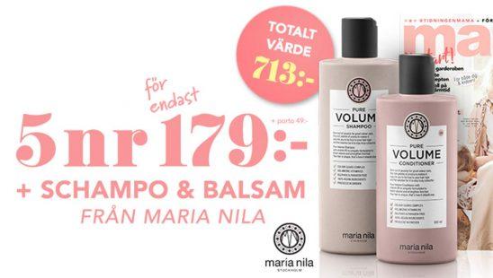 Prenumeration Mama + Shampo Balsam från Maria Nila som Premie