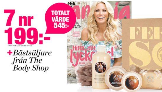 Tidning Amelia + Shea-produkter från The Body Shop Premie