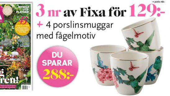 Prenumeration Allt om Trädgård Fixa + Porslinskoppar med vackra fågelmotiv Premie