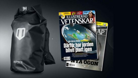 Tidningen Illustrerad Vetenskap + 100% vattentät ryggsäck som premie.