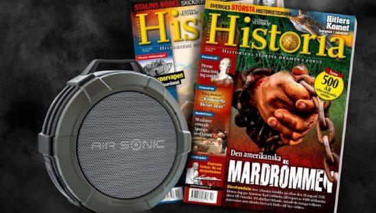 Världens Historia + Air Sonic bluetooth-högtalare som premie.