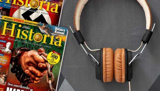 Tidningen Världens Historia + Vinyl Tech Hörlurar som premie
