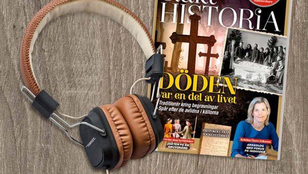 Tidningen Släkthistoria + Vinyl Tech Bluetooth-hörlurar som Premie.